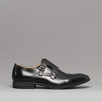 Steptronic Fresno Mens Leather Monk Strap Shoes Black