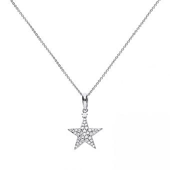 Diamonfire Silver & White Zirconia Pave Set Star Necklace