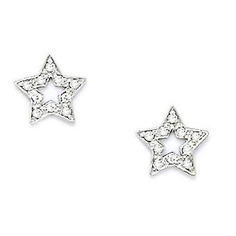 14k White Gold CZ Cubic Zirconia Gesimuleerde Diamond Small Star Schroef terug Oorbellen maatregelen 8x8mm sieraden geschenken voor vrouwen