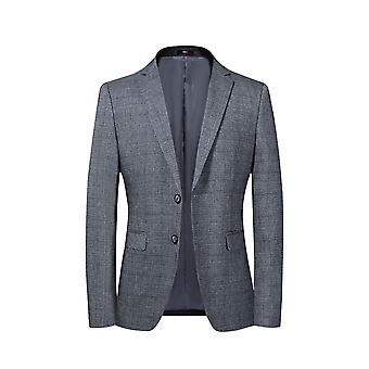 Allthemen Men's 2 Botão Xadrez Sport Coat Solid Color Slim Fit Suit Jacket Cinza