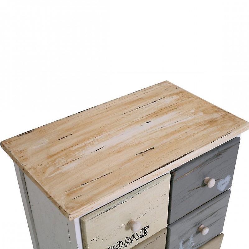 Meubles Rebecca Mobile Chest Shabby Wood 8 Tiroirs multicolores 71x48x30