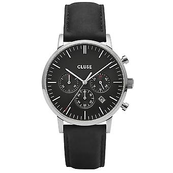 Cluse Watches Cw0101502001 Aravis Chrono Silver & Black Leather Men's Watch