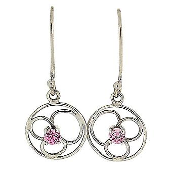 TOC Sterling Silver Pink CZ Round Flower Drop Earrings
