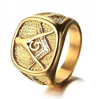 All gold tone stainless steel masonic signet ring