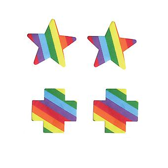 Womens Cross and Star Rainbow Single Use Pride Pasties Nipple Covers Rainbow OS