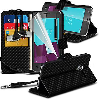 i-Tronixs Vodafone First 7 Carbon Fiber Classic Wallet Flip Case + Earphones-Black Carbon