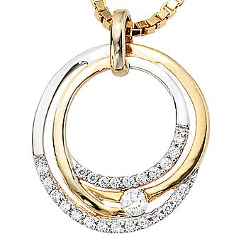 Trailer 333/g pendant oval pendant-gold with Zircons of Oval Pendant gold