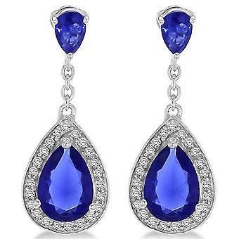 KJ Beckett droppformad Cubic Zirconia örhängen - Silver/blå
