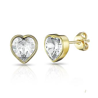 Gold bezel set heart earrings created with swarovski® crystals