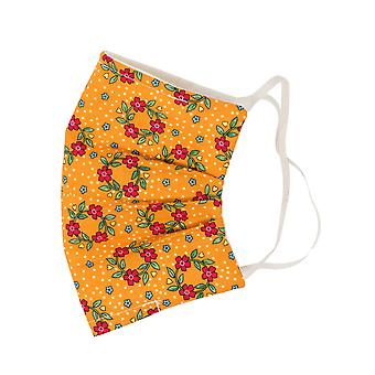 Mio SB5 Bloemenslinger geel bloemenkatoen gezichtsmasker met afneembare neusdraad
