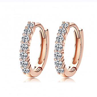 Silver Earrings Rose Golden Color - 6540