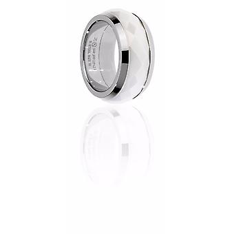 Zoppini Stainless Steel and white ceramic ring