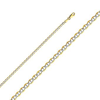 14k Yellow Gold Flat Mariner 3.4mm Lite With Rhodium Pave Chain Necklace Jewelry Gifts for Women - Length: 16 to 24