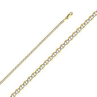 14k זהב צהוב מארינר 3.4 mm לייט עם רודיום לסלול שרשרת תכשיטים מתנות לנשים-אורך: 16 כדי 24