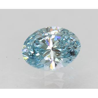 Certified 0.52 Carat Sky Blue SI1 Oval Enhanced Natural Diamond 6.04x4.57mm 2VG