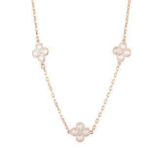 Pink White Flower Clover CZ Bridal Jewellery Rose Gold Triple Choker Necklace