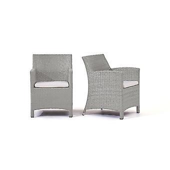 Polyrattan stolička Mulee, 2 ks - šedý satén