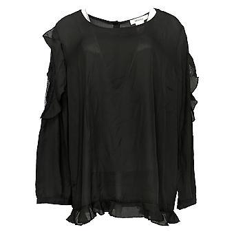 Masseys Women's Plus Top Ruffle-Trim Cold Shoulder Blouse Zwart