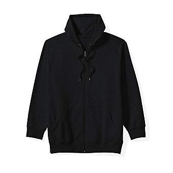 Essentials Heren's Grote en Lange Full-Zip Fleece Sweatshirt met capuchon pasvorm van DXL, Zwart, 2X