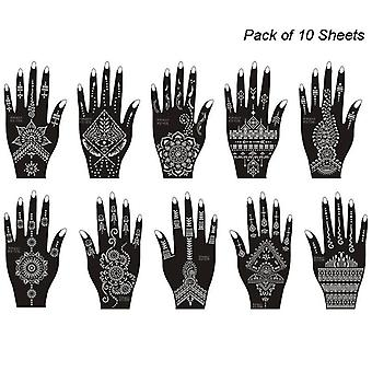 Set Of Mehndi -tattoo Stencil Kit, Temporary Templates Tattoo Stickers