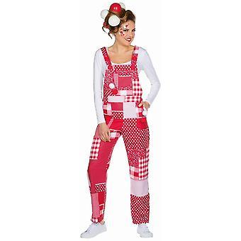 Salopette rouge /blanc costume carnaval fou