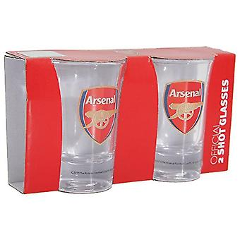 Arsenal Two Pack Word Mark Shot Glasses