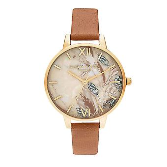 Olivia Burton Watches Ob16vm39 Demi Abstract Florals Honey Tan & Gold Watch