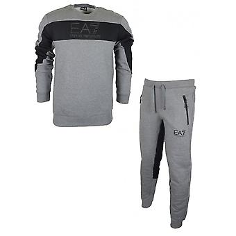EA7 by Emporio Armani Crew Neck Overhead Grey Cotton Tracksuit