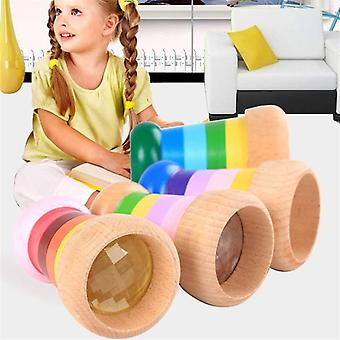 Kaleidoscope Rainbow Wooden - Cute Magical Bee Eye Effect Polygon Prism Toy