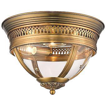 3 Ljus Flush Tak Ljus Antik Mässing, Klar, E14