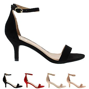 Womens Low Kitten Heel Ankle Strap Suede Office Work Evening Sandal Shoes UK 3-8