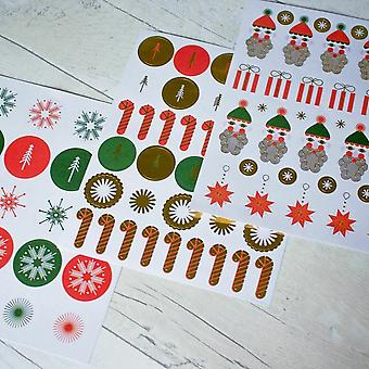 Father Christmas Gold Foil Christmas Sticker Set 182 stickers Stars Snowflakes