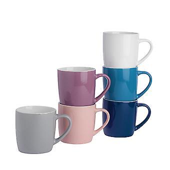 Tea Kaffe Krus - 6pc Contemporary Farvet Keramisk Cups Set - 350ml - Sæt med 6 farver