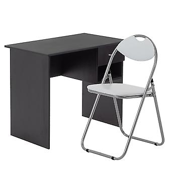 2 Piece Office Desk and Chair Set - Wooden Home Workstation with Drawer - Black/White