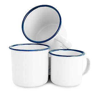Rink Drink White Émail Tea / Coffee Mugs - 150ml / 240ml / 350ml - Blue Trim - Ensemble de 18
