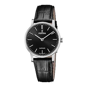 Festina Swiss F20013-4 Women's Swiss Made Black Dial And Strap Wristwatch