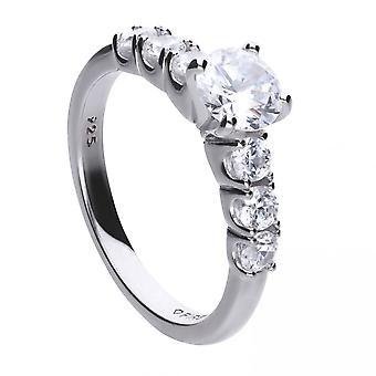 Diamonfire hopea valkoinen Zirkonia Solitaire Ring R3633