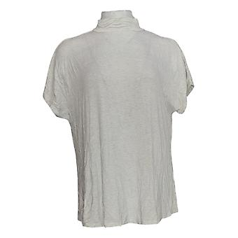 H By Halston Women's Top Short Sleeve Mock Neck White A311532