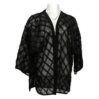 WynneLayers Women's Sweater Novelty Fringe Topper Black 682-653