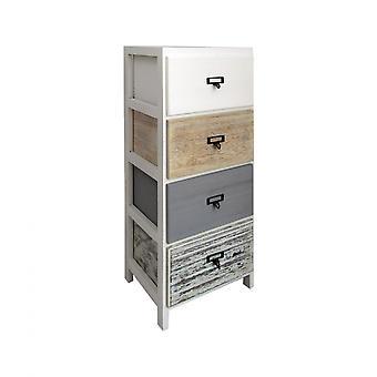 Rebecca Möbel Kommode 4 Schubladen weiß Holz Beige grau montiert 79x30x24