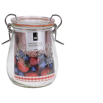 Excellent Housewares Glass Jar With Clip Lid 500ml CD1000740