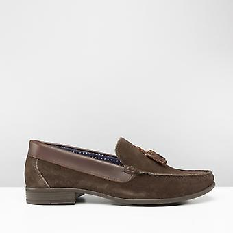Silver Street London Audley Mens Suede Tassel Loafers Brown
