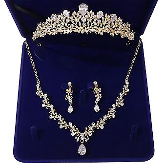 Crystal Leaf Bridal Jewelry Sets-rhinestone Crown, Tiaras, Necklace, Earrings
