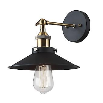 Italux Kermio - Industrie und Retro Wandleuchte schwarz 1 Licht mit Metalllegierung Schatten, E27