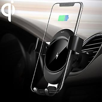 lenuo CL-28 Clamping Gravity Holder Car Air Vent Mount Qi Wireless Charger, For iPhone, Galaxy, Sony, Lenovo, HTC, Huawei, and other Smartphones(Black