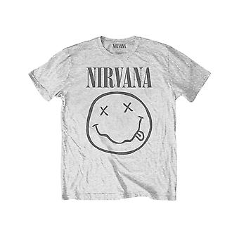 Nirvana Kids T Shirt Yellow Smiley new Official Heather Grey (Ages 3-14 yrs)