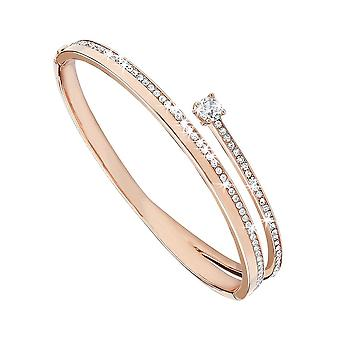 Eternity Ladies Rose Gold Plated Crystal Crossover Bangle
