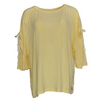 Peace Love World Women's Top 3/4 Sleeve W/ Ties & Cutouts Yellow A307448