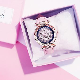 Women Starry Sky Watch Luxury Rose, Gold, Diamond Leather Quartz Wristwatch