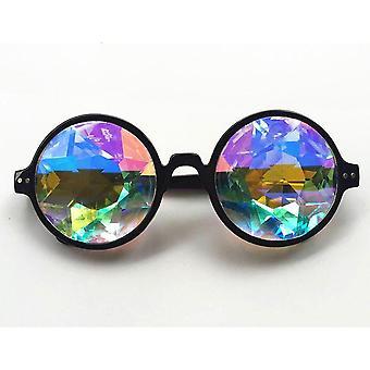 1pair Round Kaleidoscope Glasses Women Rave Festival Sunglasses Men Celebrity